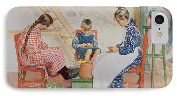 Shelling Peas, Pub. In Lasst Licht IPhone Case by Carl Larsson