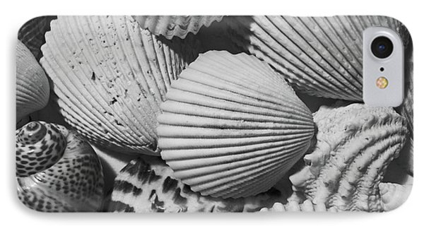 IPhone Case featuring the photograph Shells In Black And White by Mary Bedy