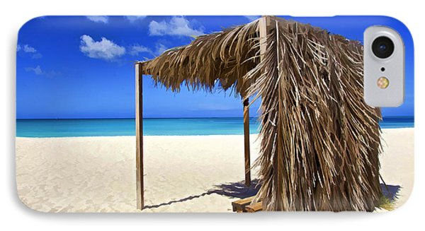 Shelter On A White Sandy Caribbean Beach With A Blue Sky And White Clouds IPhone Case