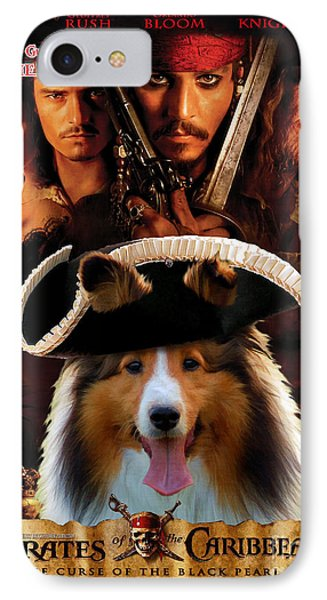 Sheltie - Shetland Sheepdog Art Canvas Print - Pirates Of The Caribbean The Curse Of The Black Pearl IPhone Case by Sandra Sij