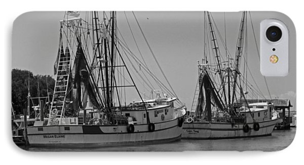 Shem Creek Shrimpers - Black And White Phone Case by Suzanne Gaff
