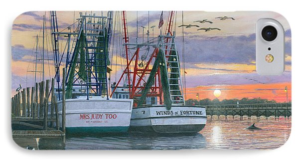 Shem Creek Shrimpers Charleston  IPhone Case by Richard Harpum