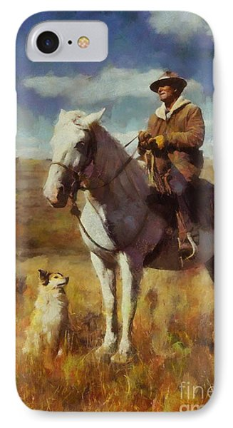 IPhone Case featuring the painting Shepherd And His Dog by Kai Saarto