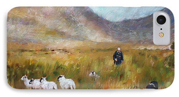 Shepherd And Sheep In The Valley  IPhone Case by Viola El