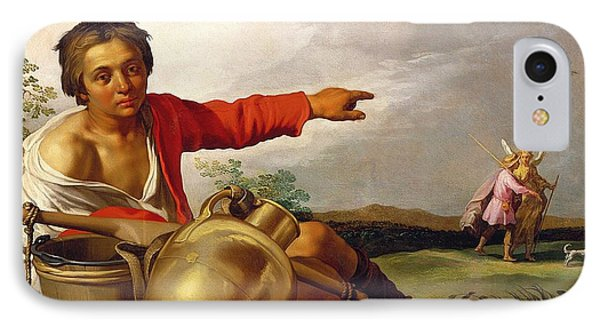Shepherd Boy Pointing At Tobias And The Angel Phone Case by Abraham Bloemaert