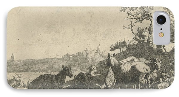 Shepherd With Dog On A Hill, Playing On A Flute IPhone Case