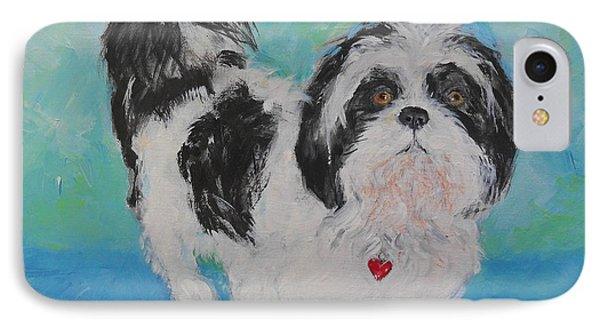 IPhone Case featuring the painting Shih Tzu Yoda by Doris Blessington