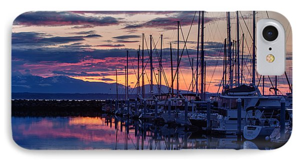 Shilshole Olympic Mountains Sunset IPhone Case by Mike Reid