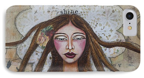 IPhone Case featuring the mixed media Shine Inspirational Mixed Media Folk Art by Stanka Vukelic