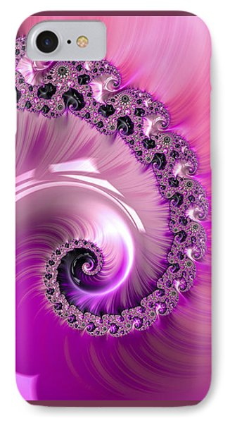 Shiny Pink Fractal Spiral IPhone Case by Matthias Hauser