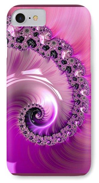 Shiny Pink Fractal Spiral IPhone Case