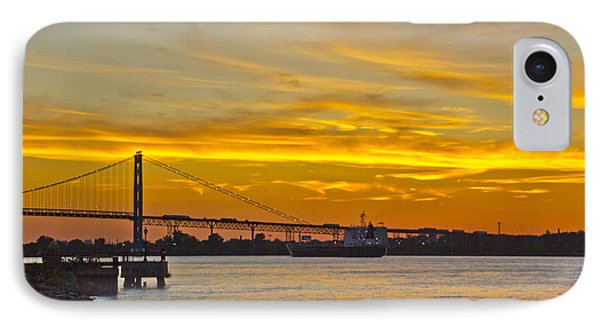 Ship Approaches Ambassador Bridge At Sunset IPhone Case