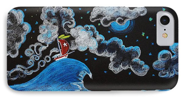 IPhone Case featuring the drawing Ship Big Wave by Joseph Hawkins