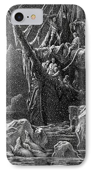Ship In Antartica Phone Case by Gustave Dore