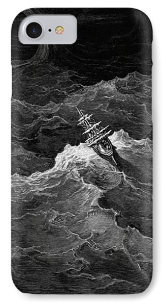 Ship In Stormy Sea Phone Case by Gustave Dore