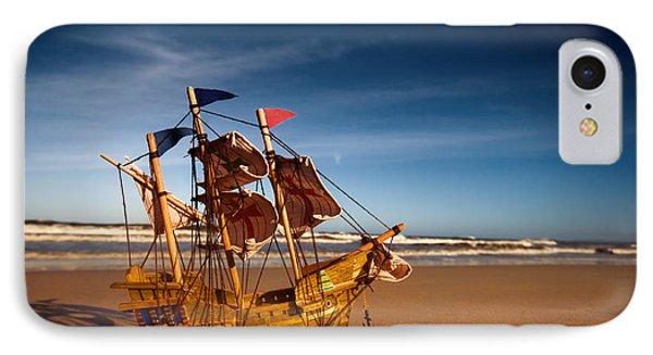 Ship Model On Summer Sunny Beach Phone Case by Michal Bednarek
