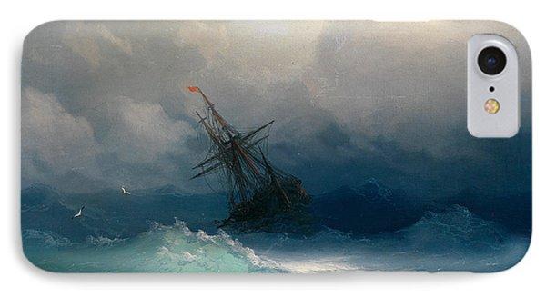 Ship On Stormy Seas IPhone Case by Ivan Konstantinovich Aivazovsky