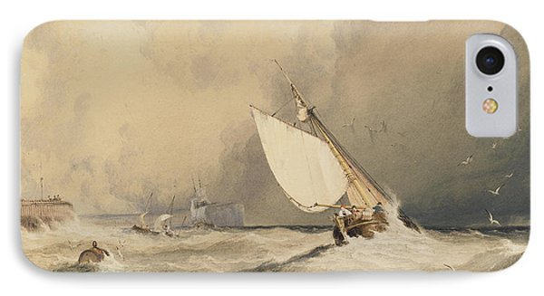 Ships At Sea Off Folkestone Harbour Storm Approaching IPhone 7 Case by Anthony Vandyke Copley Fielding