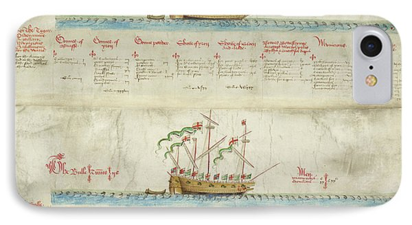 Ships In The King's Navy Fleet From 1550 IPhone Case by British Library