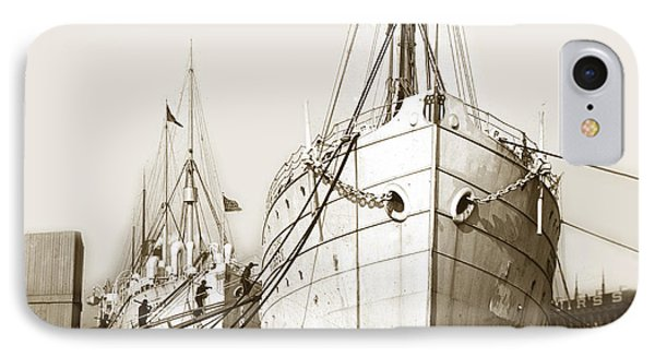 IPhone Case featuring the photograph Steam Ships San Francisco California   Circa 1900 Historical Photo by California Views Mr Pat Hathaway Archives
