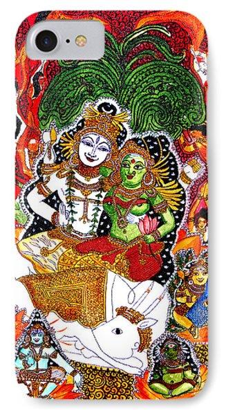 IPhone Case featuring the painting Shiva Kudumba by Saranya Haridasan