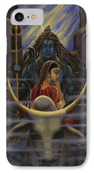 Shiva Parvati. Night In Himalayas IPhone Case by Vrindavan Das