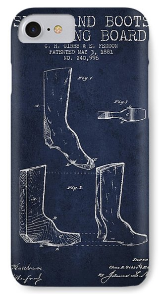 Shoes And Boots Crimping Board Patent From 1881 - Navy Blue IPhone Case by Aged Pixel