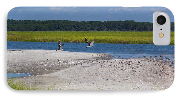 IPhone Case featuring the photograph Shorebirds And Marsh Grass by Patricia Schaefer