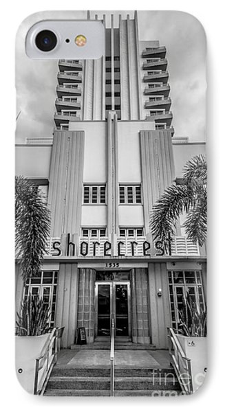 Shorecrest Hotel On South Beach Miami - Black And White IPhone Case by Ian Monk