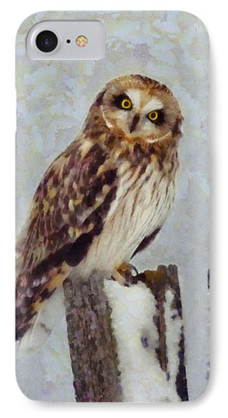 Short-eared Owl   IPhone Case by Mark Kiver