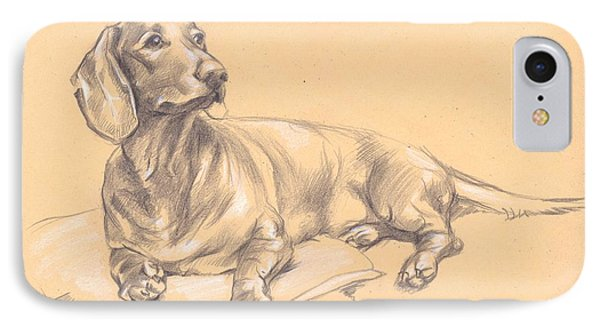 Short-haired Dachshund On A Pillow IPhone Case
