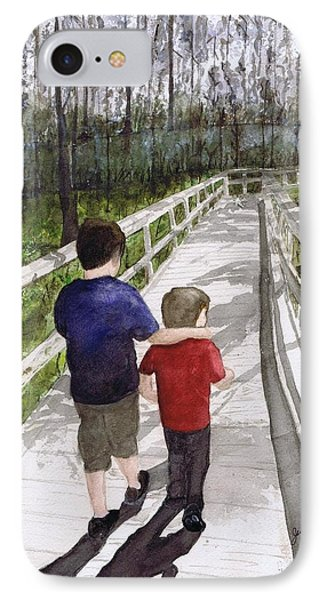 IPhone Case featuring the painting Short Walk Long Pier by June Holwell