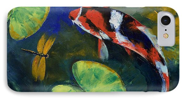 Showa Koi And Dragonfly IPhone Case by Michael Creese
