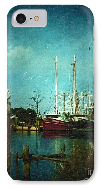 Shrimp Boats Is A Comin Phone Case by Lianne Schneider