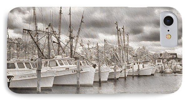 Shrimpers On Harker's Island IPhone Case by Cindy Archbell