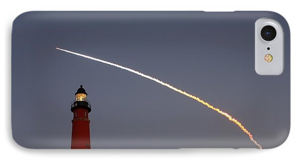 IPhone Case featuring the photograph Shuttle Discovery Liftoff Over Ponce Inlet Lighthouse by Paul Rebmann