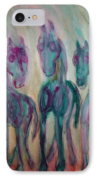 Green Horses Are Shy But Curious  IPhone Case