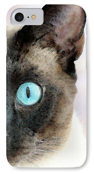 Siamese Cat Art - Half The Story Phone Case by Sharon Cummings