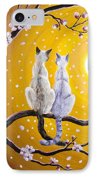 Siamese Cats Nestled In Golden Sakura IPhone Case by Laura Iverson