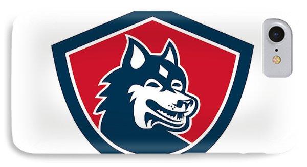 Siberian Husky Dog Head Shield Retro IPhone Case by Aloysius Patrimonio