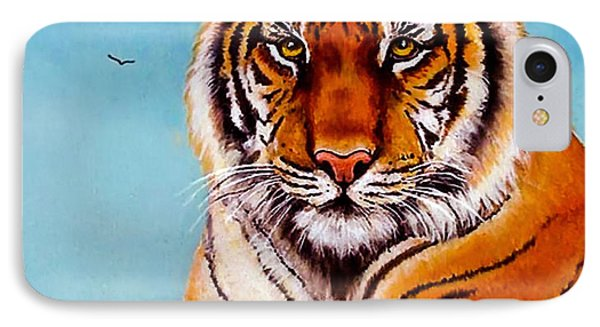 IPhone Case featuring the painting Siberian King Tiger by Bob and Nadine Johnston