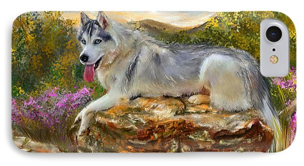 Siberian Leisure - Siberian Husky Painting IPhone Case by Lourry Legarde