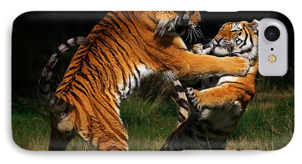 IPhone Case featuring the photograph Siberian Tigers In Fight by Nick  Biemans