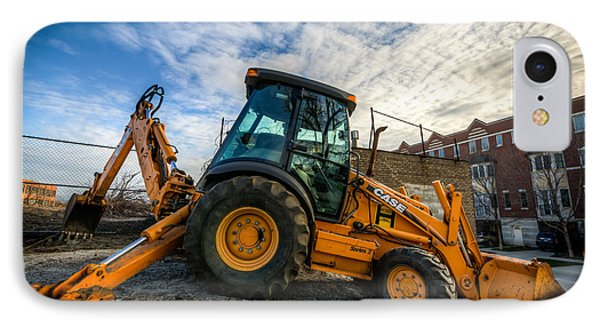 Side View Of A Backhoe At Sunset IPhone Case