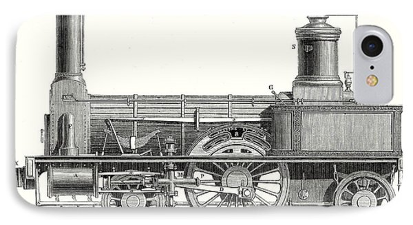 Sideview Of A Locomotive Showing The Mechanism Of The Engine IPhone Case
