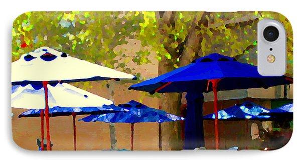 Sidewalk Cafe Blue Bistro Umbrellas Downtown Oasis Terrace Montreal City Scene Carole Spandau Phone Case by Carole Spandau