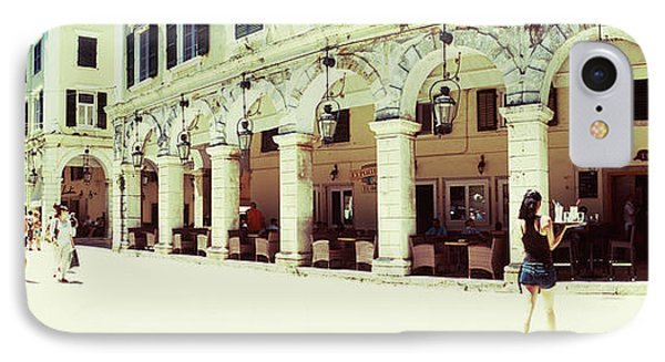 Sidewalk Cafe In A City, Corfu, Ionian IPhone Case by Panoramic Images