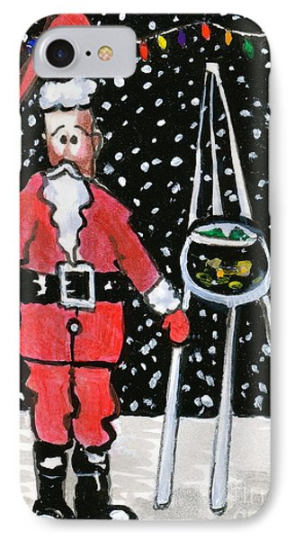 IPhone Case featuring the painting Sidewalk Santa by Joyce Gebauer