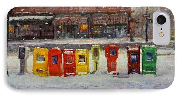Sidewalk Sentinels In Early Snow IPhone Case