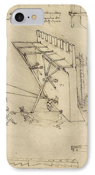 Siege Machine In Defense Of Fortification With Details Of Machine From Atlantic Codex Phone Case by Leonardo Da Vinci